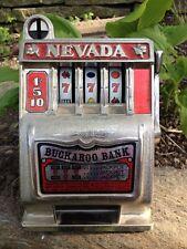 SLOT MACHINE Vintage NEVADA BUCKAROO BANK (works) Metal SLOT Heavy FUN Las Vegas