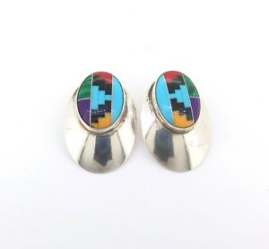 .Dramatic Navajo Sterling Silver & Multi-coloured Gemstone Earring Studs 6.7g
