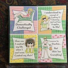 "AbsorbaStone Stoneware Coasters By Linda Grayson ""Domestically Challenged"" - Nib"