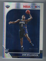 ZION WILLIAMSON 2019-20 PANINI HOOPS PREMIUM SILVER PRIZM ROOKIE RC #258 #/199