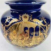 Limoges Porcelain Cobalt Blue Gold Victorian Musician Lovers Couple Wide Vase