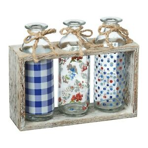 The Pioneer Woman Classic Charm Glass Bottle 3-Pc Wood Holder Rack Storage Vase