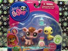 Littlest Pet Shop Walmart Exc Yellow CHICK lot #2001 Pink COW #2002 Retired NIB