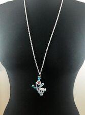 "A Large Disney Frozen Olaf Charm Pendant Necklace 30"" Long silver Tone Chain"