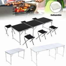 4/6Ft Portable Folding Table Picnic Party Dining Camp+4/6 Folding Chairs Outdoor