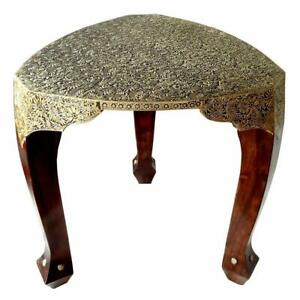 Wooden Handcrafted Carved Brown & Gold Color Wooden with Brass Work 3 Leg Stool