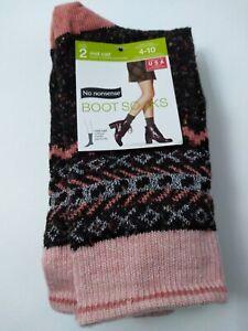 No Nonsense Boot Socks Size 4-10 Mid Calf 2 Pairs Black Pink & White
