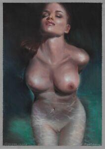 original drawing A3 142ShN-Х art samovar Female nude pastel woman naked Realism