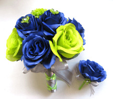 SEATTLE SEAHAWKS NFL 2pc Navy Blue Green Bouquet Wedding Silk flowers Home decor