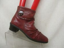 Rieker Red Leather Side Zip Slouch Ankle Fashion Boots Bootie Size 40 EUR GUC