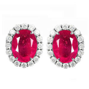 Natural Burmese Red Ruby 2.40Ct & IGI Certified Diamond Studs In 14KT White Gold