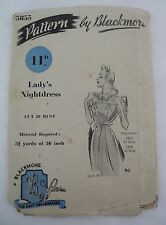 """VINTAGE 1940S  SEWING PATTERN BLACKMORE 5855 : LADY'S NIGHTDRESS SIZE M/36"""" BUST"""