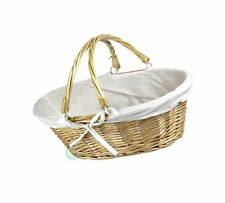 Oval Willow Basket with Double Drop Down Handles 1 White