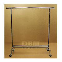 "Single Bar Adjustable Clothes Rack Garment Retail Display Hanger Wheels 81"" H"