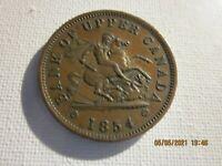 1854 Bank Of Upper Canada, Bank Token One-Penny