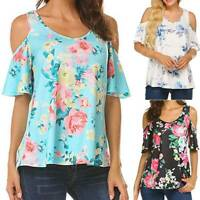 Womens Short Sleeve Cold Shoulder T-Shirt Blouse Floral Print Casual Tunic Tops