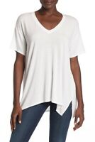 Michael Stars V Neck High Low Tee Shirt White  Size OS New one size
