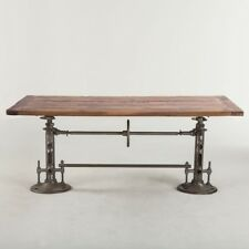 "82"" L Industrial design dining crank table iron base legs antiqued teak wood top"