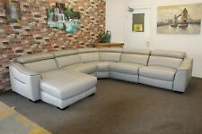 ELIXIR FEATHER GREY LEATHER ELECTRIC RECLINING LHF CHAISE 5 PIECE CORNER SOFA
