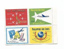 Block of FOUR Vintage Philippine Air Lines / PAL Poster Stamps
