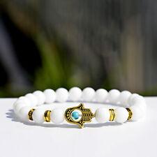 Charm Women Gold Hamsa Hand of Fatima White Lava Stone Beads Man Lucky Bracelets
