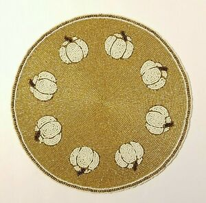 Glass Beaded Pumpkin Placemat Charger India Thanksgiving Fall Gold Ivory Cream
