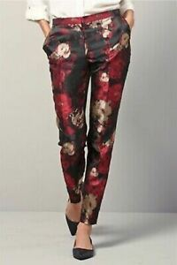 Next Silky Black Gold Red Taper Leg Silky Brocade Trousers - Size 12R - BNWT