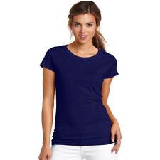 Maglie e camicie da donna blu aderente con girocollo