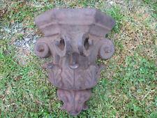 "Divine Large Heavy Antique Rusty Ornate Architechural Cast Iron Corbel 13"" Tall"