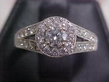 *ESTATE*1.19ctw NATURAL DIAMOND ENGAGEMENT HALO RING 14K WHITE GOLD sz7.25