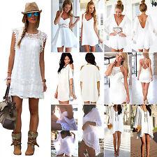 Damen Mini Kleid Weiß Sommer Sexy Strandkleid Party Cocktailkleid Abendkleider
