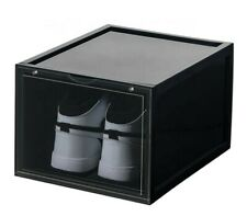 MAGNETIC DROP FRONT Shoe Box Storage Container - Stackable (2 Pack BLACK)