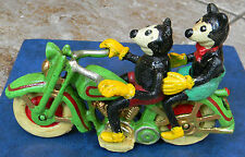SUPERB CAST IRON MICKEY & MINNIE MOUSE ON A HARLEY DAVIDSON MOTORBIKE