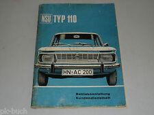 Betriebsanleitung Bedienungsanleitung Handbuch NSU Typ 110