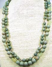Genuine Aquamarine & Jasper Bead Necklace 22 inches Handmade