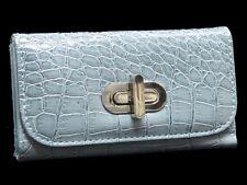 Pastel Blue Ladies Patent Leather Clutch Purse Wallet