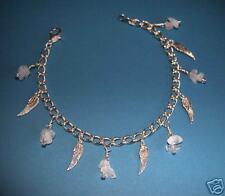 Tibetan Silver Angel Wings & Genuine Moonstone Anklet Chain Stunning