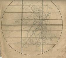 Antico Disegno Preparatorio per Vetrata Figurativa Artistica di S. Giuseppe 1920