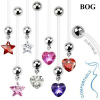 Crystal Dangle Flexible Pregnant Belly Button Rings Navel Piercing Body Jewelry