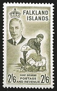 Falkland Islands Stamp 1952 2/6 King George VI Scott # 117 SG182 MINT OG LH-H