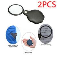 2PCS Folding 10X Mini Pocket Jewelry Magnifier Magnifying Eye Glass Loupe Len