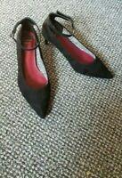 Ex M&S Women's Kitten Heel Pointed Toe Court Shoes Black UK 4.5 RRP £25