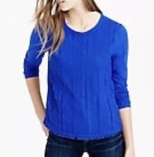 J. Crew Lace Front Long Sleeve Top Medium M Blue T Tee Shirt Jersey
