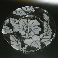 Vintage Hawaii Etched Glass Hibiscus Dish Plate bead accent edge