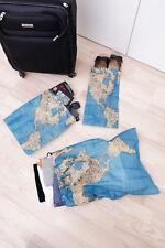 Wäschebeutel 4er Set Weltkarte Reise Urlaub Wäschesack Schuhbeutel Schmutzwäsche