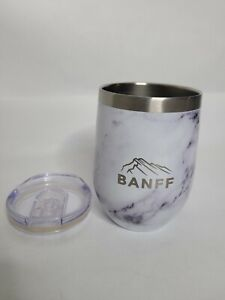 Banff Stemless Wine Cocktail Cup Tumbler Marble w/ Lid 12 oz EUC