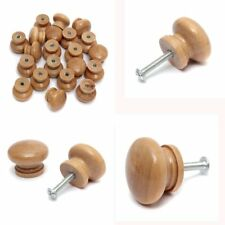 10PCS Natural Wood Wooden Door Drawer Cupboard Knob Handle Drilled With Screw