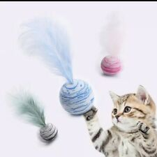 Funny Pet Cat Puppy Dog Playing Throwing Foam Ball Feather Toy Pets Happy Gift S