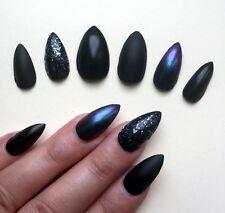 Hand Painted False Nails STILETTO (or ANY SHAPE) Black Matte/Gloss Halloween UK