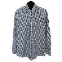 Orvis Mens Heritage Wash Poplin Button Down Shirt Size XL Blue Check Long Sleeve